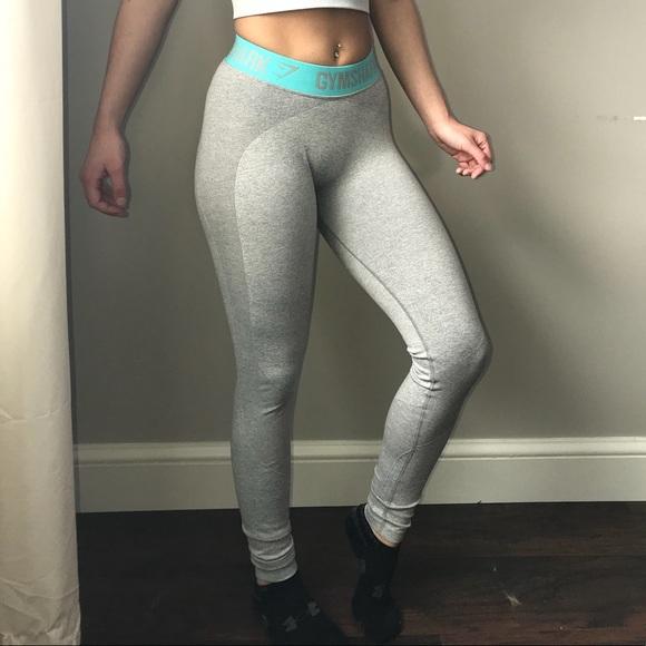 7899534aee6cf gymshark Pants - Gymshark Flex Leggings V2 (XS) grey blue